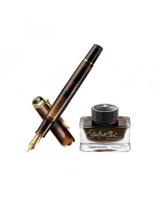 Pluma pelikan m200 smoky quartz plumin m + frasco tinta edelstein ink of the year 50 ml en estuche regalo