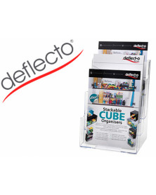 Expositor sobremesa deflecto 3 alturas din a4 vertical escalonado 245x322x160 mm