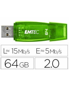 Memoria usb emtec flash c410 64 gb 2.0 verde