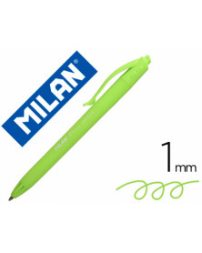 Boligrafo milan p1 retractil 1 mm touch verde claro