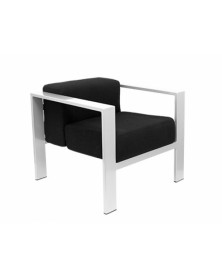 Sillon q-connect espera con brazos una plaza negro 640x700x700 mm