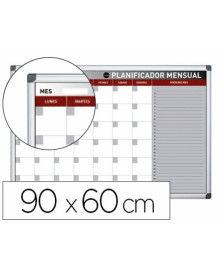 Planning magnetico bi-office mensual lacado marco aluminio rotulable 90x60 cm