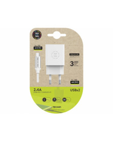 Cargador tech one tech 2.4 doble usb + cable braided nylon micro usb android longitud 1 mt color blanco