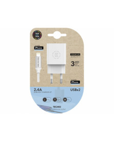 Cargador tech one tech 2.4 doble usb + cable braided nylon micro usb apple longitud 1 mt color blanco