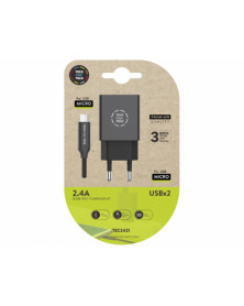 Cargador tech one tech 2.4 doble usb + cable braided nylon micro usb android longitud 1 mt color negro