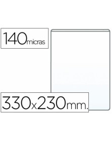 Funda portadocumento q-connect folio 140 micras pvc transparente 230x330mm