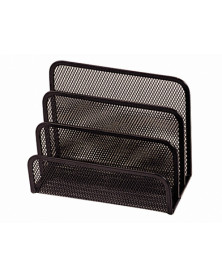 Soporte para cartas q-connect -metalico rejilla negro -175x140x82 mm