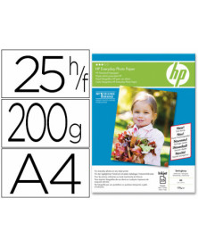 Papel hp fotografico satinado everyday-a4- -25 hojas- -200g/m2- 210x297mm