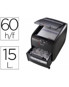 Destructora de documentos rexel auto+ 60x capacidad de corte 60 h destruye grapas clips y tarjetas papelera 15l