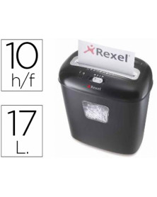Destructora de documentos rexel duo capacidad de corte 10 h destruye grapas clips tarjetas y cd papelera 17l