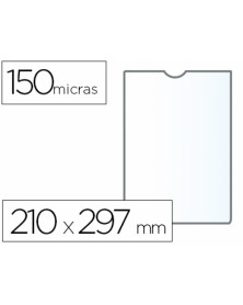 Funda portadocumento q-connect din a4 150 micras pvc transparente 210x297 mm