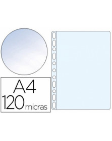 Funda multitaladro q-connect folio 120 mc cristal caja de 100 unidades